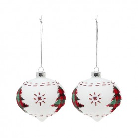 Palle di Natale Christmas Planet 2003 8 cm (2 uds) Geam Bianco